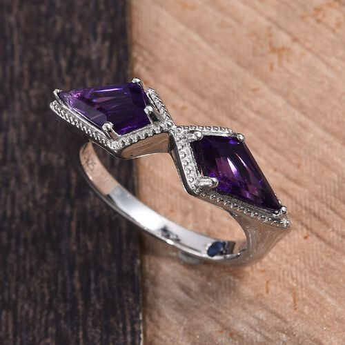 GP- Amethyst and Blue Sapphire Ring in Platinum Overlay Sterling Silver 1.780 Ct.
