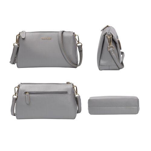 SENCILLEZ 100% Genuine Leather Crossbody Bag with Zipper Closure and Detachable Shoulder Strap (Size 28x9x17cm) - Grey
