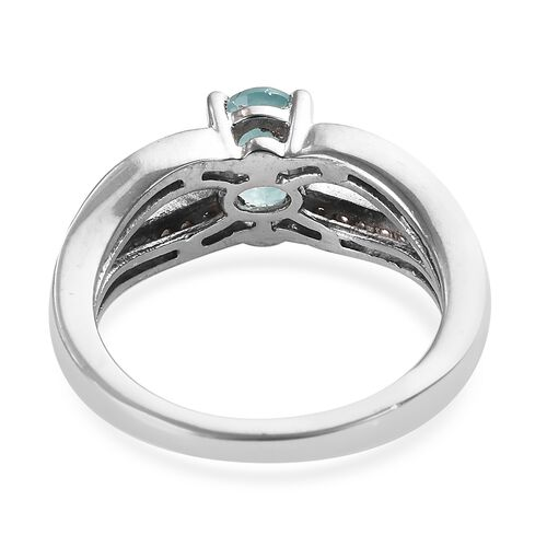 Grandidierite (Ovl), Natural Cambodian Zircon Ring in Platinum Overlay Sterling Silver 1.00 Ct.