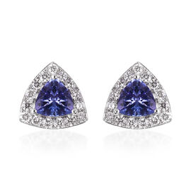 ILIANA 18K White Gold AAA Tanzanite and Diamond (SI/G-H) Earrings (with Screw Back) 1.09 Ct.