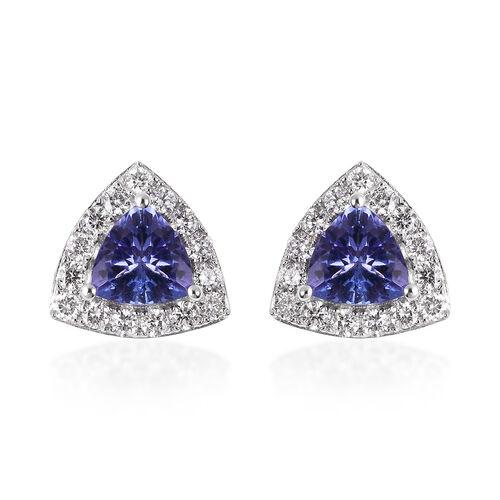 ILIANA 18K White Gold AAA Tanzanite and Diamond (SI/G-H) Earrings (with Screw Back) 1.09 Ct.