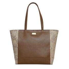 Assots London Animal Print Leather Tote Bag (Size 39x29x10.5cm) - Tan