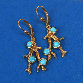 Sundays Child- Coral Collection-  Arizona Sleeping Beauty Turquoise Lever Back Earrings in 14K Gold Overlay Sterling Silver, Silver wt. 6.59 Gms