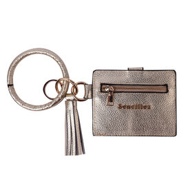 """Sencillez"" Metallic Gold Genuine Leather Key Chain 11.5x9cm, card solt-2, zipped-1"