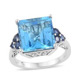 Marambaia Topaz (Sqr 13.00 Ct), Kanchanaburi Blue Sapphire Ring in Platinum Overlay Sterling Silver 13.750 Ct.