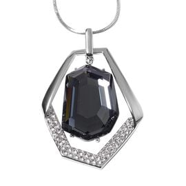 Simulated Grey Spinel and White Austrian Crystal Pendant With Chain (Size 29 with 2 inch Extender) i