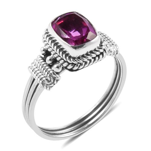 Royal Bali Collection Radiant Orchid Triplet Quartz (Cush) Solitaire Ring in Sterling Silver 2.550 Ct.