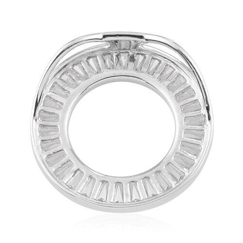 J Francis Platinum Overlay Sterling Silver Circle Pendant Made with SWAROVSKI ZIRCONIA 3.00 Ct.