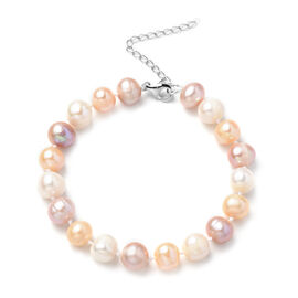 Multi Colour Freshwater Pearl  Bracelet (Size - 8.5 with Extender) in Sterling Silver