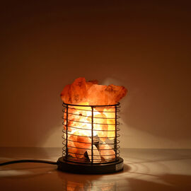 Natural Pink Himalayan Rock Salt Basket Lamp - With 1.6KG Salt Bag -  Cylindrical