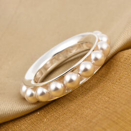 J Francis Crystal From Swarovski White Pearl Full Eternity Ring in Sterling Silver