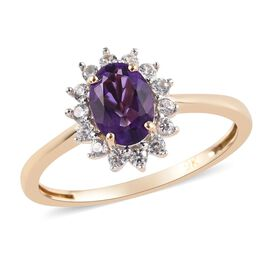 9K Yellow Gold AA Amethyst (Ovl 7x5mm), Natural Cambodian Zircon Ring 1.00 Ct.