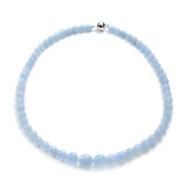 Santa Teresa Aquamarine Beaded Necklace (Size 20 with Magnetic Lock ) in Rhodium Overlay Sterling Si