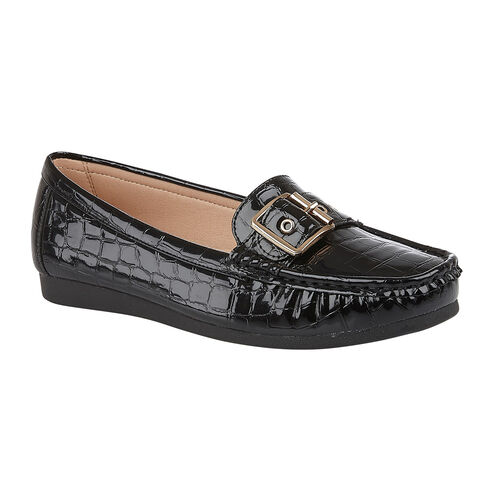 Lotus LIBBY Loafers with Croc Pattern and Buckle (Size 7) - Black