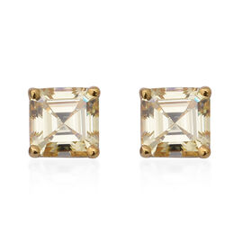 ELANZA Simulated Diamond Solitaire Stud Earrings in Gold Plated Silver