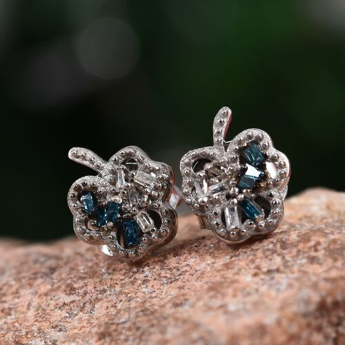 Blue and White Diamond Stud Earrings (with Push Back) in Platinum Overlay Sterling Silver 0.05 Ct