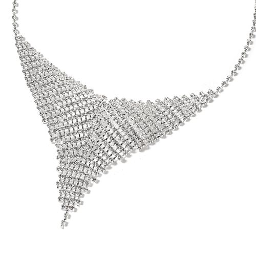 White Austrian Crystal (Rnd) Necklace (Size 22) and Earrings in Silver Plated