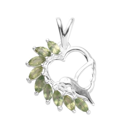 1 Carat Natural Green Apatite Bird Heart Pendant in Sterling Silver