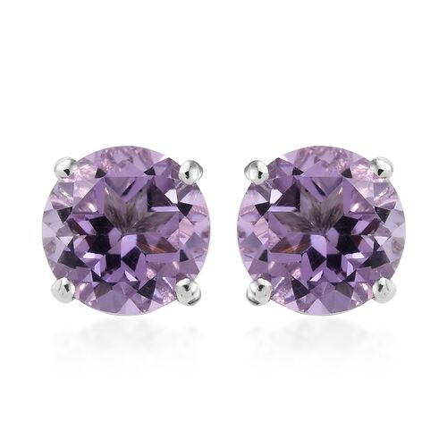 AA Rose De France Amethyst (Rnd) Stud Earrings (with Push Back) in Platinum Overlay Sterling Silver
