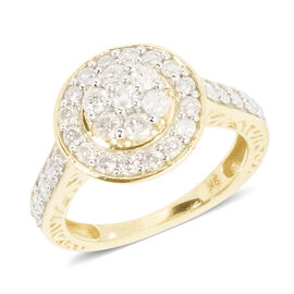 Limited Edition 1 Carat Diamond Halo Design Ring in 9K Gold SGL Certified