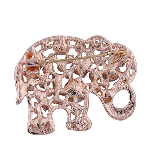 Set of 2 - Multi Colour Austrian Crystal, Simulated Pearl and Simulated Diamond Elephant Brooch or Pendant in Rose and Yellow Gold Tone