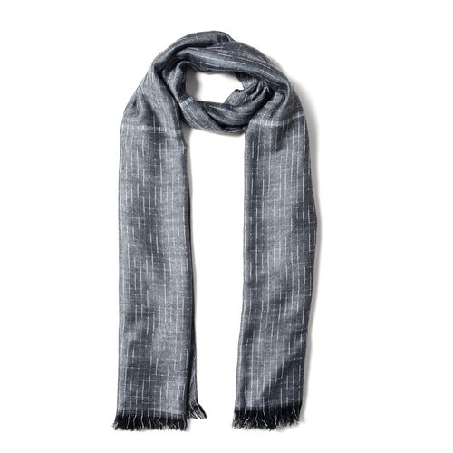 One Time Close Out Deal- Dark Grey Colour Scarf with Small Chequer Pattern (Size 180x68 Cm)