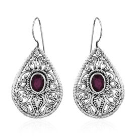 Royal Bali Collection African Ruby (Ovl 8x6) Drop Hook Earrings in Sterling Silver 3.680 Ct, Silver wt 7.91 Gms.