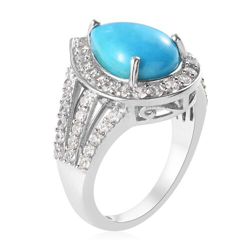 Arizona Sleeping Beauty Turquoise (Pear 12x8mm), Natural Cambodian Zircon Ring in Platinum Overlay Sterling Silver 3.79 Ct.