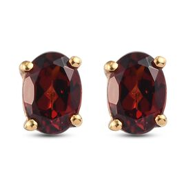 Red Garnet Earring in 14K Gold Overlay Sterling Silver 1.62 ct  1.620  Ct.