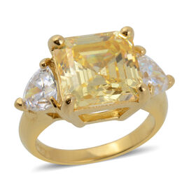 ELANZA Swiss Star Cubic Zirconia Trilogy Design Ring in Gold Plated Silver