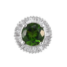 One Time Deal- Russian Diopside and Diamond Pendant  in Platinum Overlay Sterling Silver 1.15 Ct.