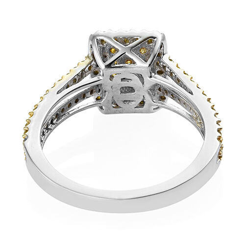 Yellow Diamond (Rnd) Cluster Ring in Yellow Gold and Platinum Overlay Sterling Silver 0.500 Ct.