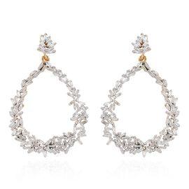 GP Diamond (Bgt), Kanchanaburi Blue Sapphire Earrings (with Push Back) in 14K Gold Overlay Sterling Silver 1.060 Ct. Number of Diamond 192