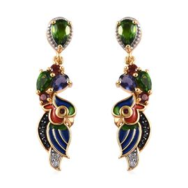 GP 2.25 Ct Russian Diopside and Multi Gemstone Dangle Earrings with Push Back in Gold Plated Silver