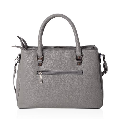 New Arrival Embroidery Rose Grey Tote Bag with Removable Shoulder Strap (Size 32x23.5x12 Cm)