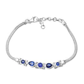 3.49 Ct Masoala Sapphire Hand Made Bracelet in Silver 9.20 Grams 7 With 1.5 Inch Extender