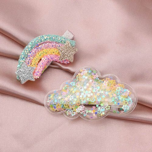 2 Piece Set - Rainbow and Cloud Design Hairpin with Multi Colour Flash Chip (Size 6x3 Cm, 8x4 Cm) - Green