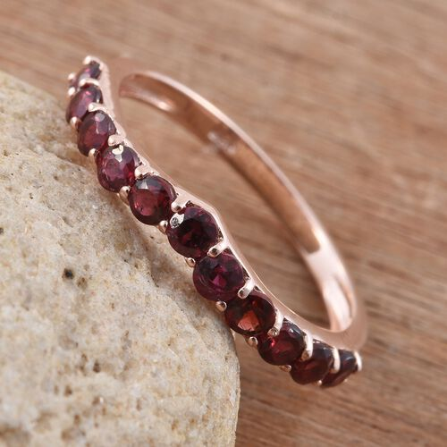 Arizona Anthill Garnet (Rnd) Wishbone Ring in Rose Gold Overlay Sterling Silver 1.000 Ct.