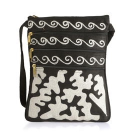 Suede Leather Look Snow White Colour Hand Embroidered Sling Bag with External Zipper Pocket and Shou