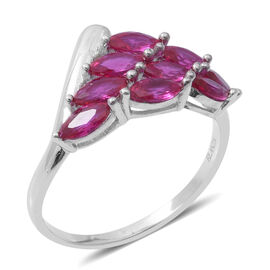 ELANZA Simulated Ruby (Mrq) Ring in Rhodium Overlay Sterling Silver