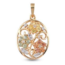Rainbow Sapphire and Natural Cambodian Zircon Floral Pendant in 14K Gold Overlay Sterling Silver 1.0