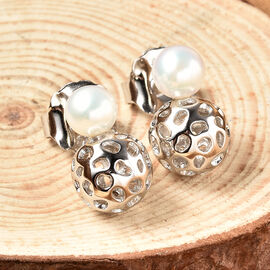 Rachel Galley Globe Pearl Collection - Freshwater Pearl Drop Earrings in Rhodium Overlay Sterling Silver