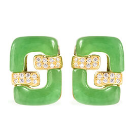 Green Jade and Simulated Diamond Earrings (with Push Back) in Yellow Gold Overlay Sterling Silver 28