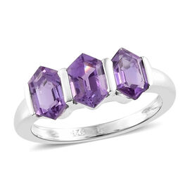 Amethyst Three Stone Ring in Sterling Silver 1.750 Ct.