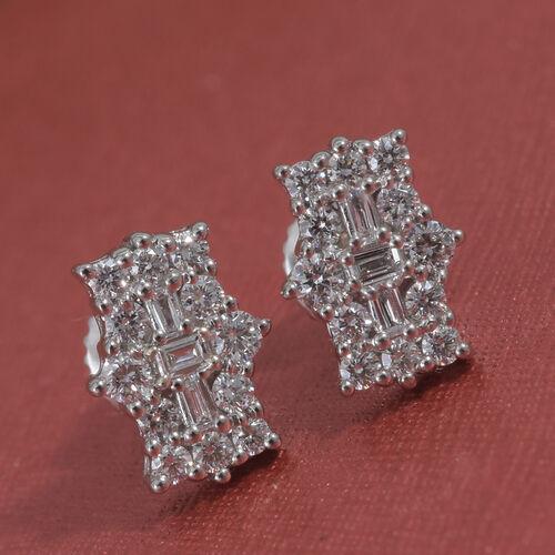 RHAPSODY 950 Platinum IGI Certified Diamond (Rnd) (VS/E-F) Boat Cluster Earrings (With Screw Back) 0.500 Ct.