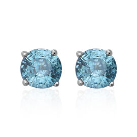 Ratanakiri Blue Zircon Stud Earrings in Rhodium Plated Sterling Silver