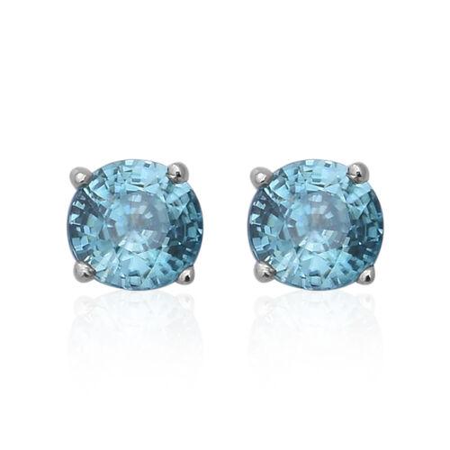 Ratanakiri Blue Zircon Stud Earrings in Rhodium Plated Sterling Silver