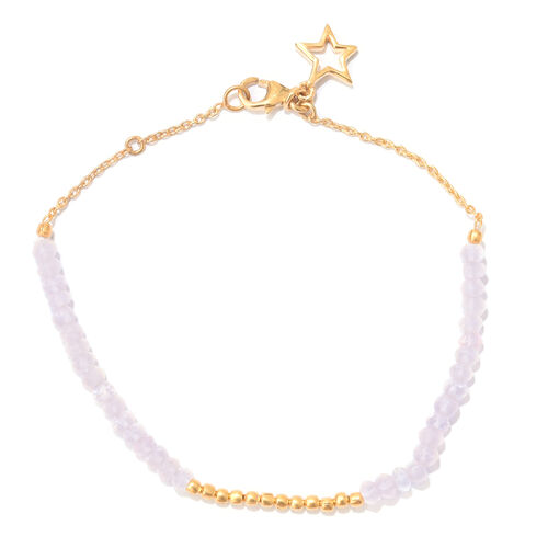 Rose Quartz (Rnd) Bracelet (Size 7.5) with Star Charm in Yellow Gold Overlay Sterling Silver 6.500 Ct.