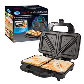 Two Slice S/S Deep Fill Sandwich Maker900W. Cool Touch Handles. Non-Stick Plates.