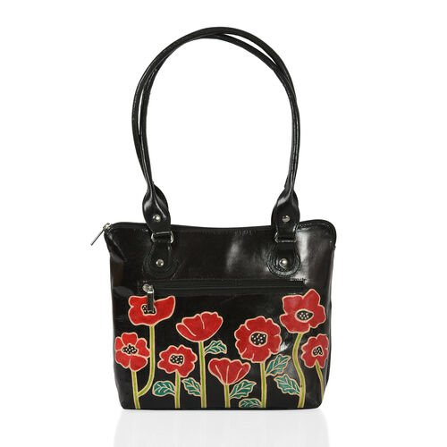 Heritage Collection - Handpainted Poppy Flower Design - 100% Genuine Leather (Size 25x24 Cm)